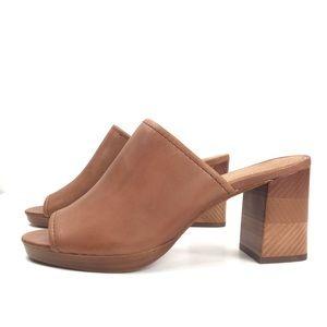 Frye Blake Leather Block Heel Mules Slides